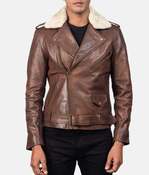 Brown Shearling Distressed Leather Jacket