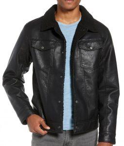 Mario Faux Shearling Trim Black Jacket