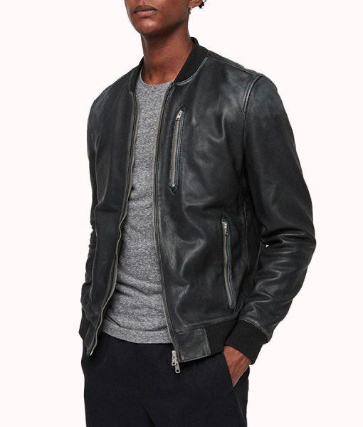John Men's Black leather Bomber Jacket