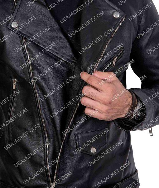 Tony Mens Lapel Collar Style Black Motorcycle Leather Jacket