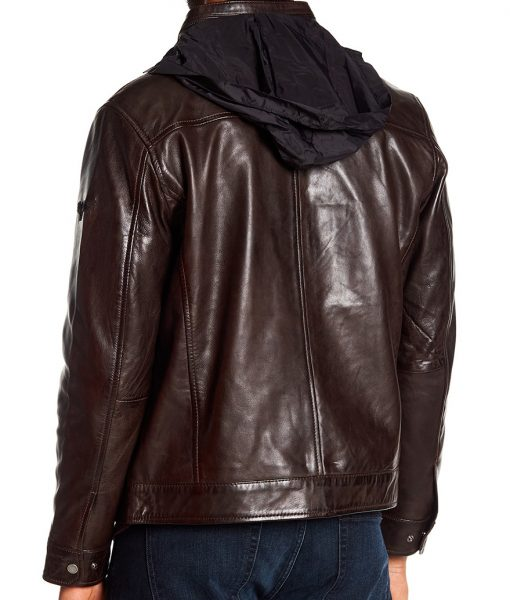 Michael Stand Collar Lamb Leather Jacket