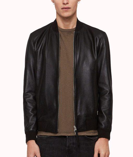 Micheal Black Sheepskin Leather Bomber Jacket