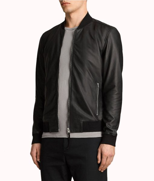 Micheal Men's Black Leather Bomber Jacket
