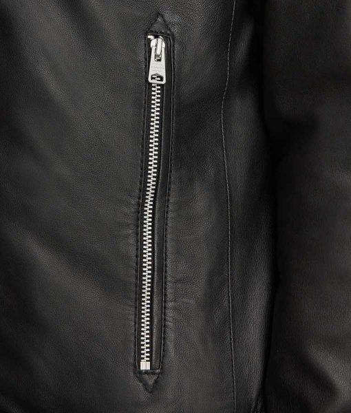 Micheal Mens Black Sheepskin Leather Side Pocket Jacket