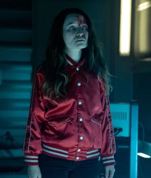 American Gods Emily Browning Red Satin Jacket