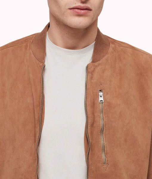 Robert Suede Leather Bomber Zipper Jacket