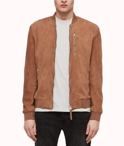 Robert Brown Suede Leather Jacket With Single Pocket