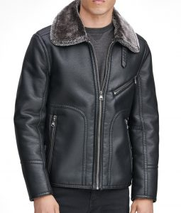 Black Lawrence Faux Shearling Collar Pilot Jacket