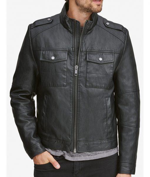Sylvester Black Slimfit Faux Leather Jacket