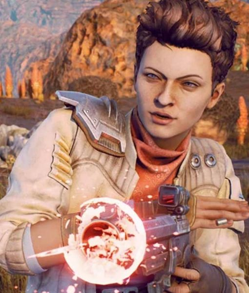 The Outer Worlds White Leather Jacket