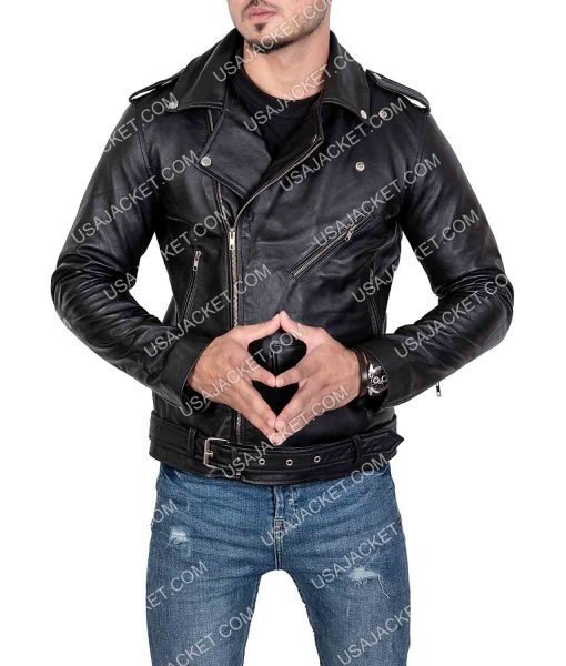 Mens Lapel Collar Style Motorcycle Leather Jacket
