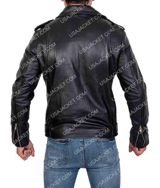 Tony Mens Black Motorcycle Leather Jack
