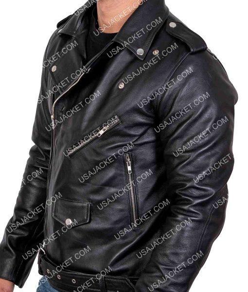 Tony Mens Lapel Collar Style Black Leather Jacket