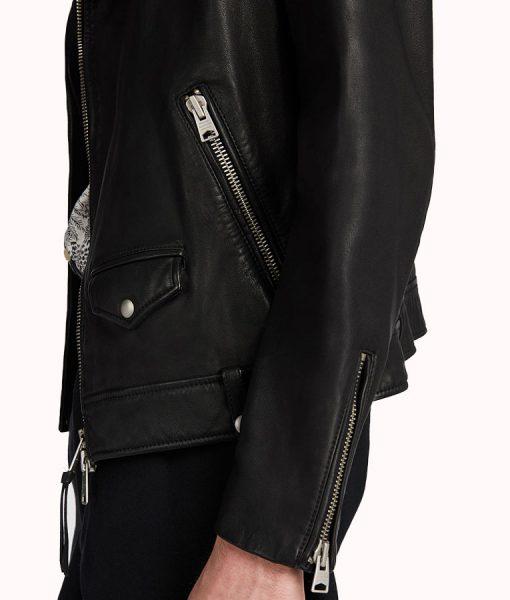 William Black Asymmeterical Moto Lambskin Leather Jacket