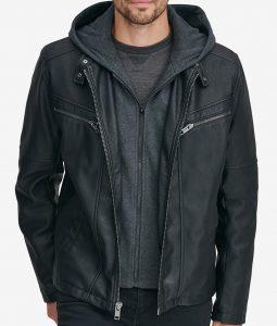 William black Hooded Leather Jacket