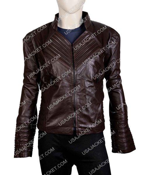 Womens Dark Brown Leather Biker Jacket
