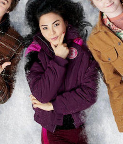 Anna Akana Let It Snow B Logo Hooded Bomber Jacket