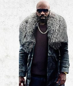 Black and Blue Mike Colter Shearling Trench Coat