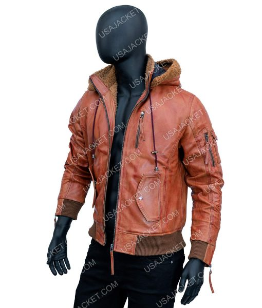 Bowie Bomber Leather Jacket With Hood