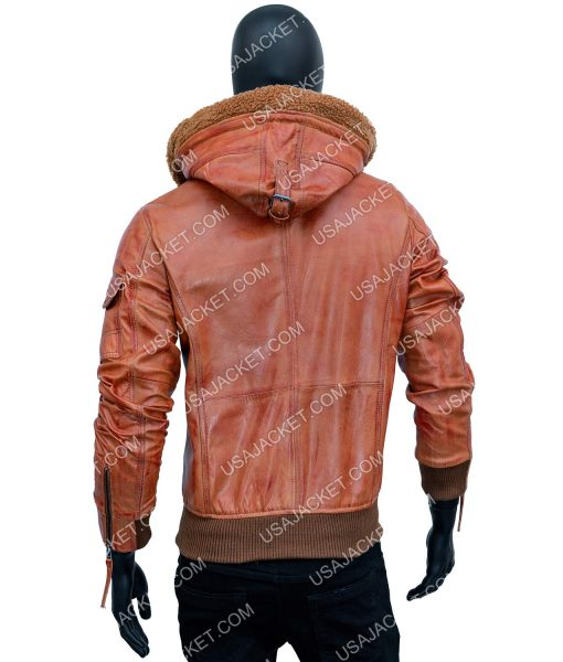 Bowie Brown Bomber Jacket With Hood