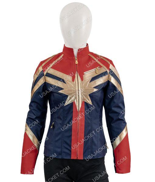 Captain Marvel Cafe Racer Leather Jacket