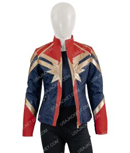 Carol Danvers Blue and Red Biker Jacket