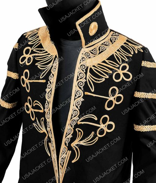 Greedfall Vasco Golden Embroidery Black Wool Coat