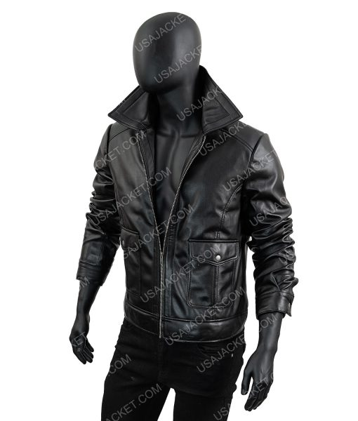 Mens Black Leather Zipper Jacket