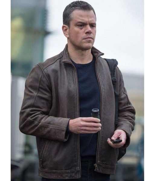 Jason Bourne Matt Damon Brown Leather Jacket