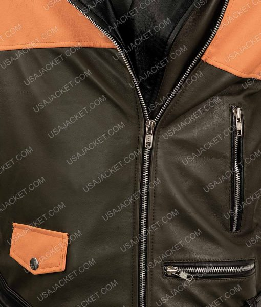 Mens Biker Style Orange Leather Jacket
