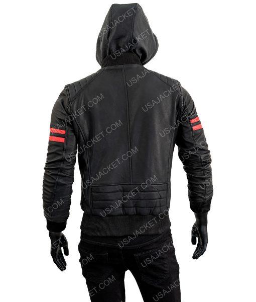 Black Leather Biker Red Striped Bomber Jacket