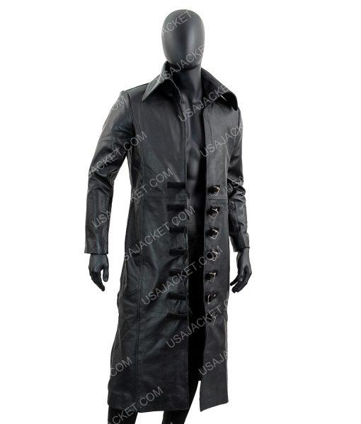 Black Leather Trench Coat