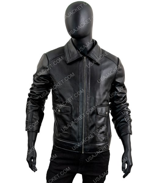 James T-shirt Collar Leather Jacket