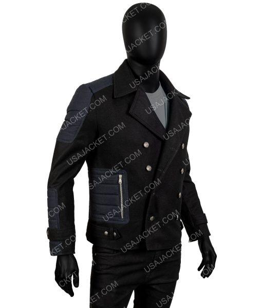 Black Wool-Blend Short Coat