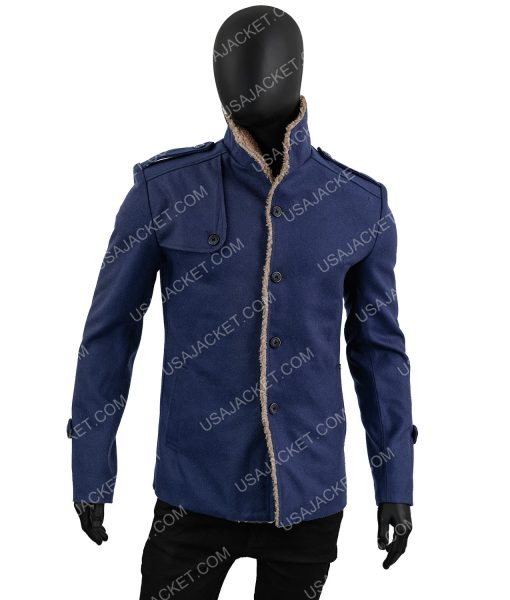 Mens Single Breasted Blue Shearling Collar Jacket
