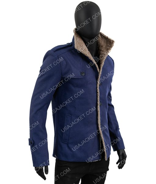 Mens Single Breasted Blue Wool Jacket
