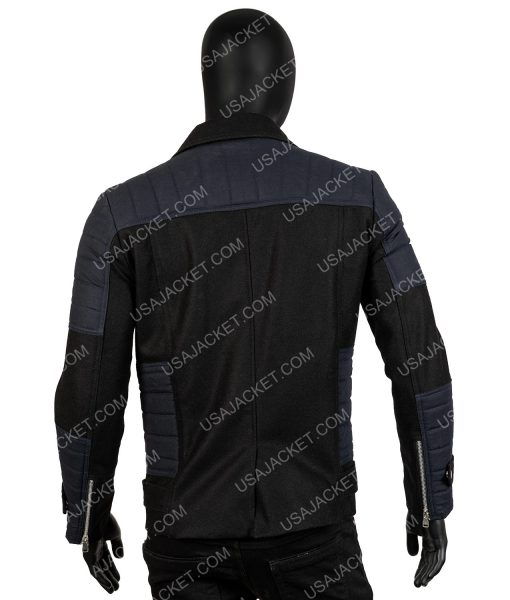 Men's Black Wool-Blend Slim-Fit Winter Warm Short Coat