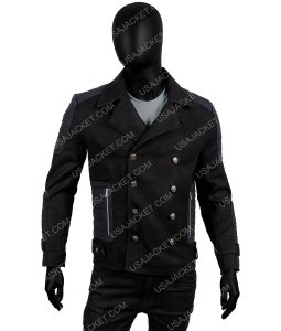 Men's Slim-Fit Black Winter Warm Wool Blend Short Coat