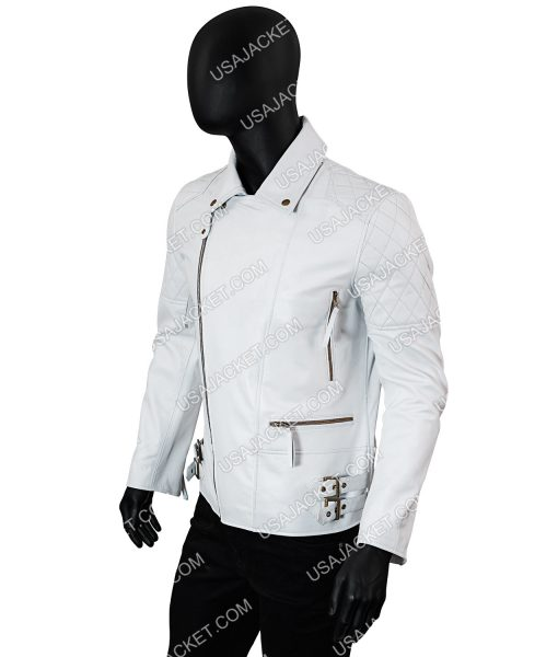 Mens White Biker Leather Jacket