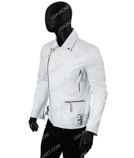 Mens White Biker Leather Jacket