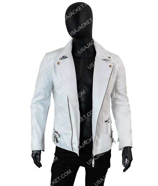 Mens White Leather Jacket