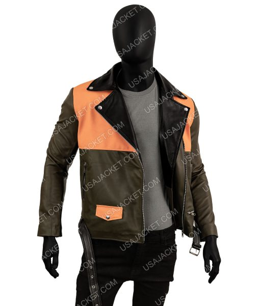 Mens Orange Leather Jacket