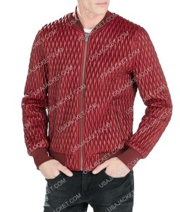 Mens Red Quilted Bomber Jacket