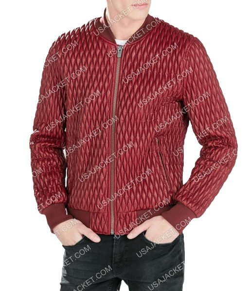 Red Quilted Faux Leather Bomber Jacket