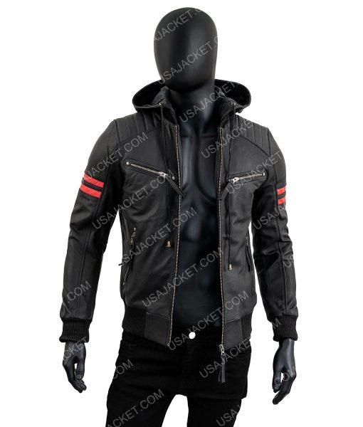 Shepherd Black Bomber Jacket With Removeable Hood