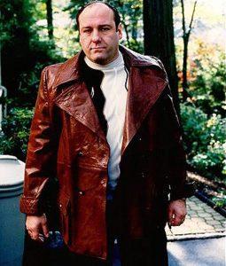 Tony Sopranos Brown Leather Trench Coat