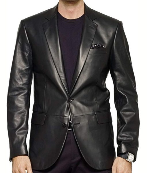 Tony Sopranos Black Leather Blazer