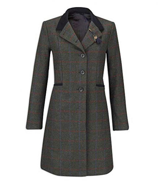 Womens British Style Tweed Coat
