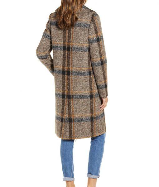 Womens Brown Plaid Tweed Coat