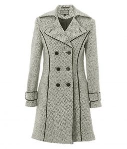 Womens Double Breasted White and Black Tweed Coat